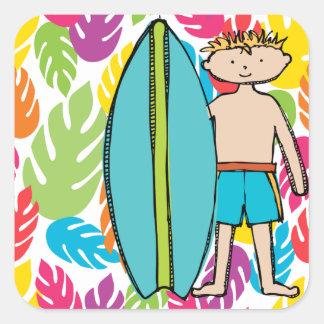 Pegatinas rubios de la persona que practica surf pegatina cuadrada