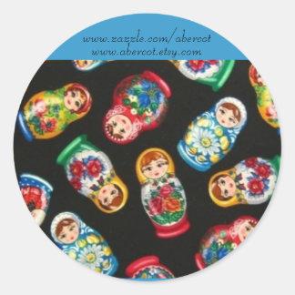 Pegatinas rusos de las muñecas de la etiquetas redondas