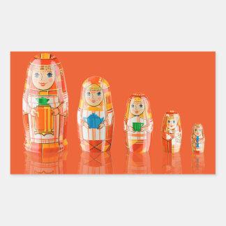 Pegatinas rusos rojos de las muñecas de Matryoshka Rectangular Pegatina
