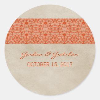 Pegatinas rústicos anaranjados del boda del cordón etiqueta redonda