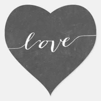 Pegatinas rústicos del favor del boda del corazón pegatina en forma de corazón