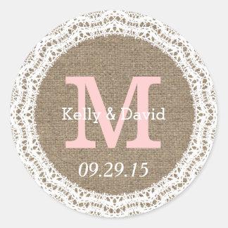 Pegatinas rústicos del favor del boda del cordón y etiquetas redondas