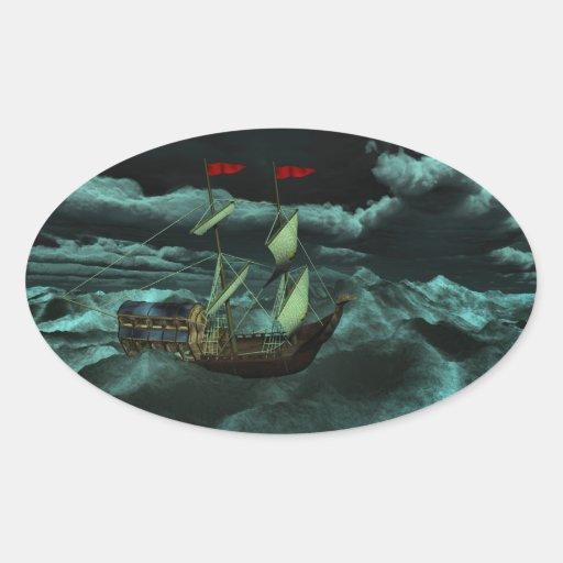 Pegatinas salvajes y tempestuosos del mar calcomania óval personalizadas