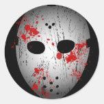 Pegatinas sangrientos de la máscara del hockey etiqueta redonda