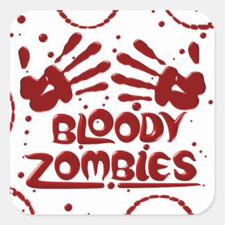 Pegatinas sangrientos del zombi calcomania cuadradas