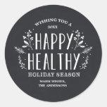Pegatinas sanos felices de la etiqueta del regalo