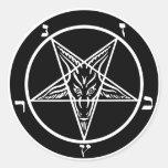 Pegatinas satánicos de Baphomet del metal negro Pegatina Redonda
