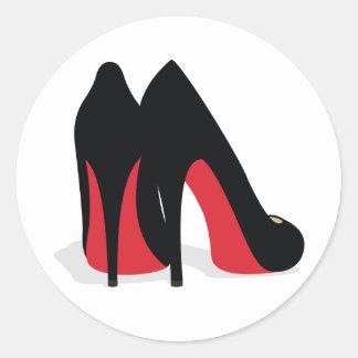 Pegatinas/sellos rojos del zapato etiqueta redonda