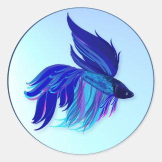 Pegatinas siameses azules grandes de los pescados etiqueta redonda
