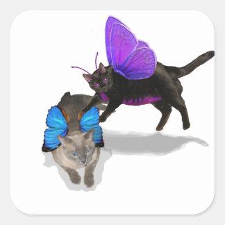 pegatinas siameses púrpuras azules del tiempo del  pegatinas cuadradases