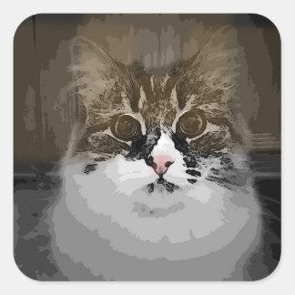 Pegatinas siberianos del gato del diseño original pegatina cuadrada