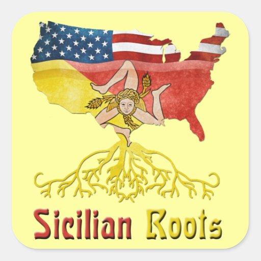 Pegatinas sicilianos americanos de las raíces colcomanias cuadradases