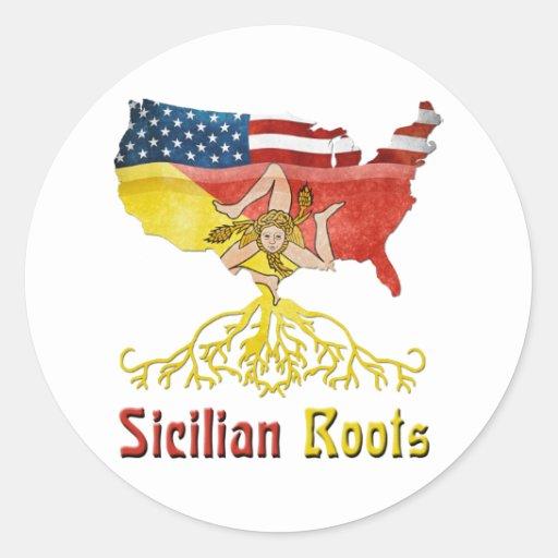 Pegatinas sicilianos americanos de las raíces pegatina redonda