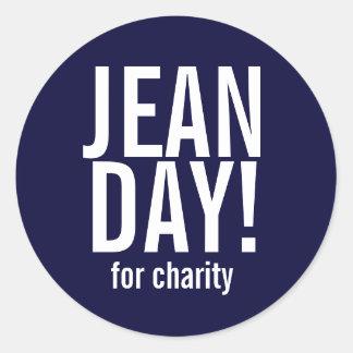 Pegatinas simples del día de Jean de los azules Pegatinas Redondas