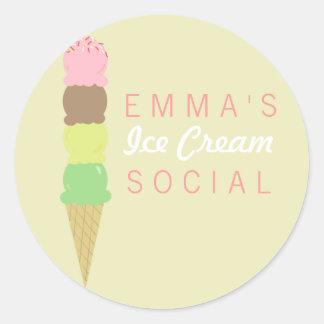 Pegatinas sociales del fiesta del helado pegatina redonda