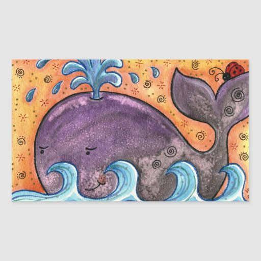 Pegatinas soñolientos de la ballena pegatina rectangular