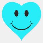 Pegatinas sonrientes de la cara del corazón azul c