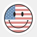 Pegatinas sonrientes patrióticos etiquetas redondas