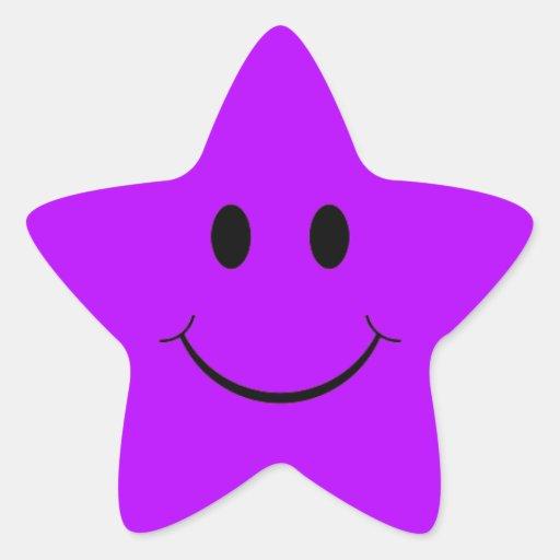 Pegatinas sonrientes púrpuras de la estrella pegatina en forma de estrella