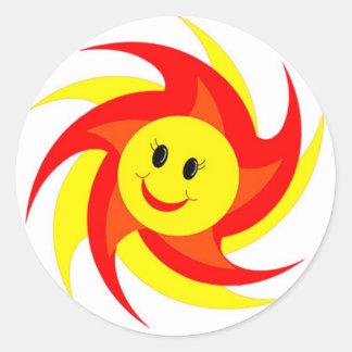 Pegatinas sonrientes soleados de la cara pegatinas redondas
