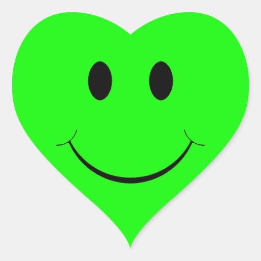 Pegatinas sonrientes verdes del corazón de la cara pegatina en forma de corazón
