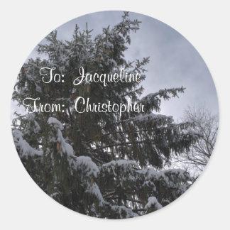 Pegatinas Spruce nevados de la etiqueta del regalo