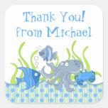 Pegatinas subacuáticos azules del favor del calcomanias cuadradas