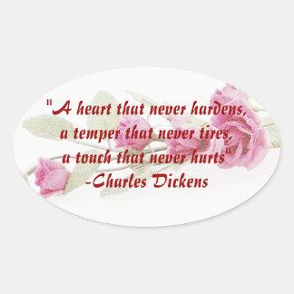 Pegatinas subiós cita de Charles Dickens Pegatinas Óval Personalizadas