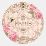 Pegatinas subiós París elegantes de Tre o sellos Pegatina Redonda
