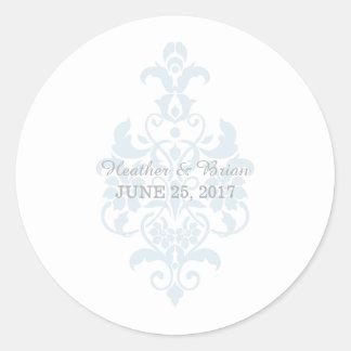 Pegatinas sutiles azules del boda del damasco pegatina redonda