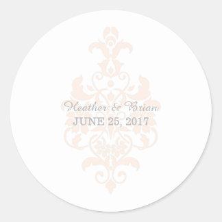 Pegatinas sutiles coralinos del boda del damasco pegatina redonda