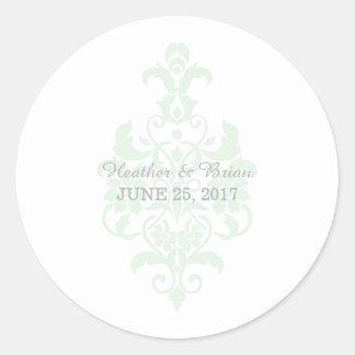 Pegatinas sutiles del boda del damasco de la verde pegatina redonda