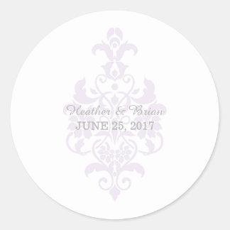 Pegatinas sutiles púrpuras del boda del damasco pegatina redonda