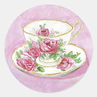 Pegatinas - taza de té y platillo florales color pegatina redonda