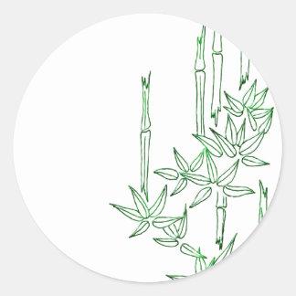 Pegatinas temáticos asiáticos de bambú pegatina redonda