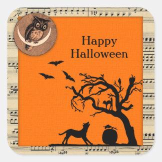 Pegatinas temáticos de Halloween del vintage Pegatina Cuadrada