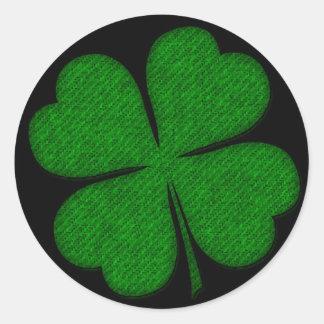 Pegatinas texturizados tela verde del diseño del pegatina redonda