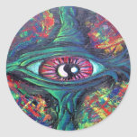 Pegatinas torcidos de la pintura al óleo del ojo etiquetas redondas
