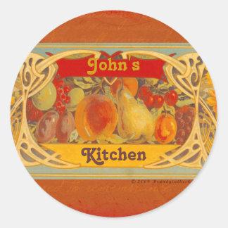 Pegatinas toscanos personalizados de la cocina etiqueta redonda