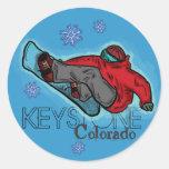 Pegatinas trapezoidales del snowboarder de pegatinas redondas