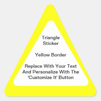 Pegatinas triangulares con una frontera amarilla pegatina triangular