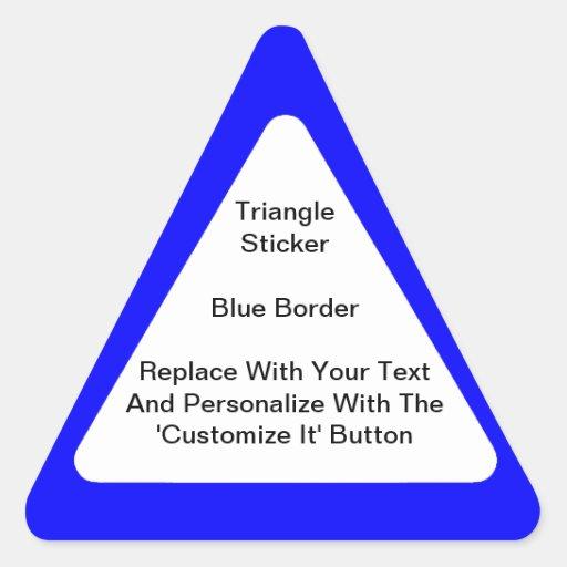 Pegatinas triangulares con una frontera azul en pegatina triangular