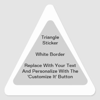 Pegatinas triangulares con una frontera blanca en pegatina triangular