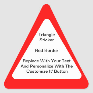 Pegatinas triangulares con una frontera roja en pegatina triangular