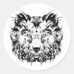 Pegatinas tribales abstractos del lobo