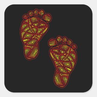 Pegatinas tribales de los dedos del pie calcomanía cuadradas