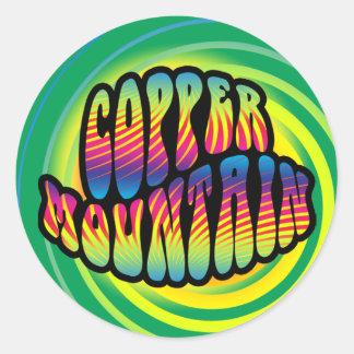 Pegatinas Trippy del hippy de cobre de la montaña Pegatina Redonda