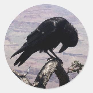 Pegatinas tristes 01 del cuervo pegatina redonda