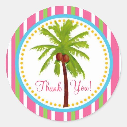 Pegatinas tropicales de la palmera etiqueta redonda