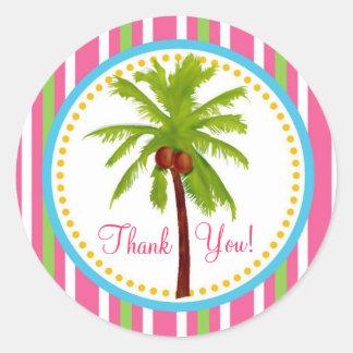 Pegatinas tropicales de la palmera pegatina redonda
